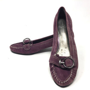 Linea Paolo Purple Suede Loafers Silver Buckle 8M